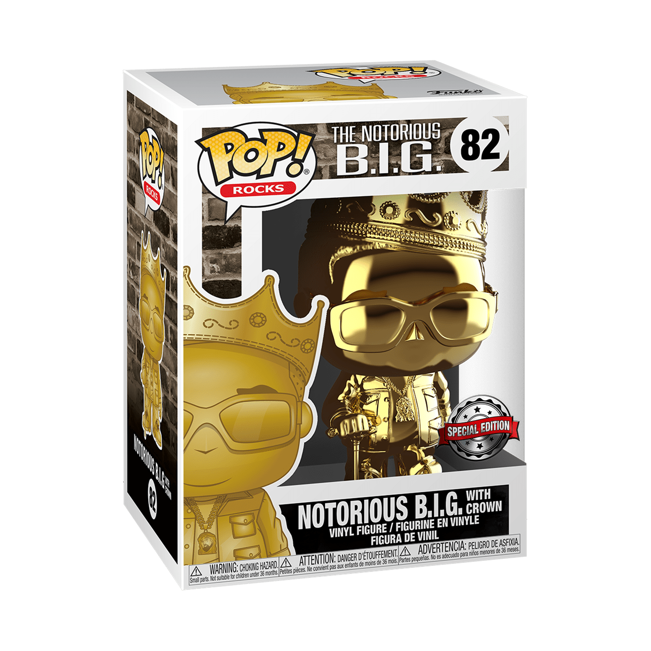 Notorious B.I.G. with Crown Gold Chrome (82) Special Edition Biggie (hmv Exclusive) Pop Vinyl - 2