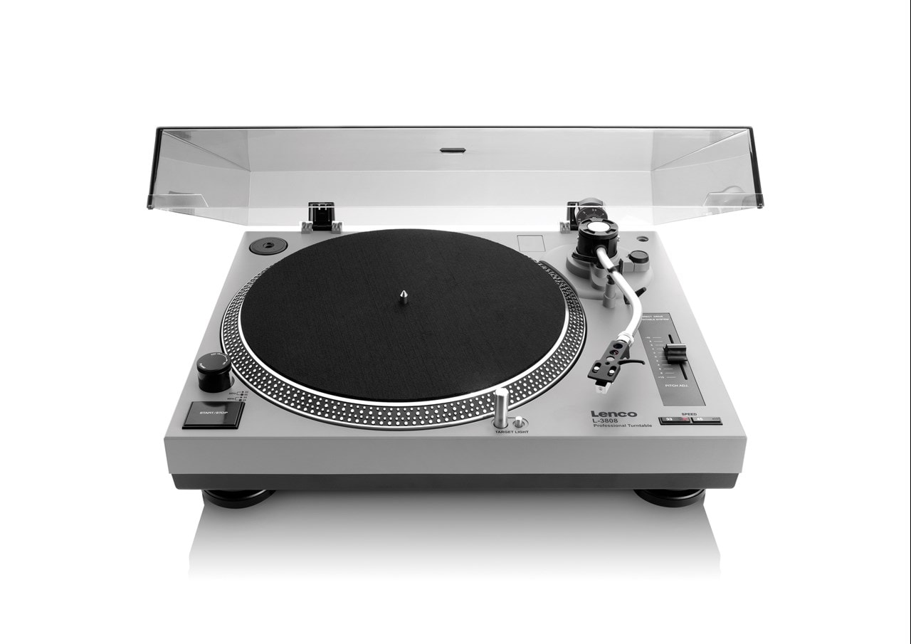 Lenco LS-3808 Matte Grey Direct Drive Turntable - 1