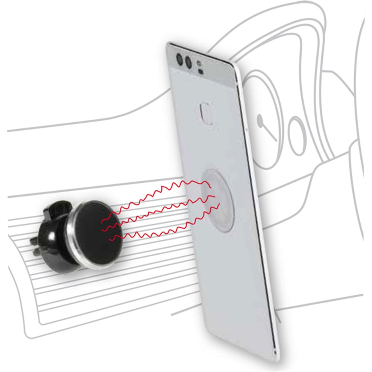 Vivanco Magnetic Silver Car Phone Mount - 1