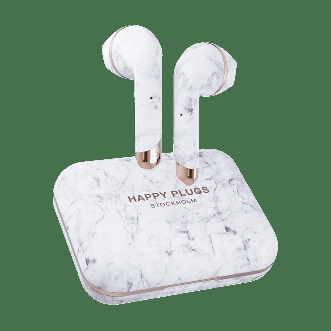 Happy Plugs Air1 Plus White Marble Earbud True Wireless Bluetooth Earphones - 1
