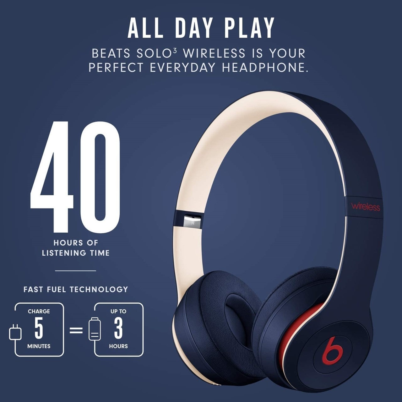 Beats By Dr Dre Solo 3 Wireless Club Navy Headphones - 5