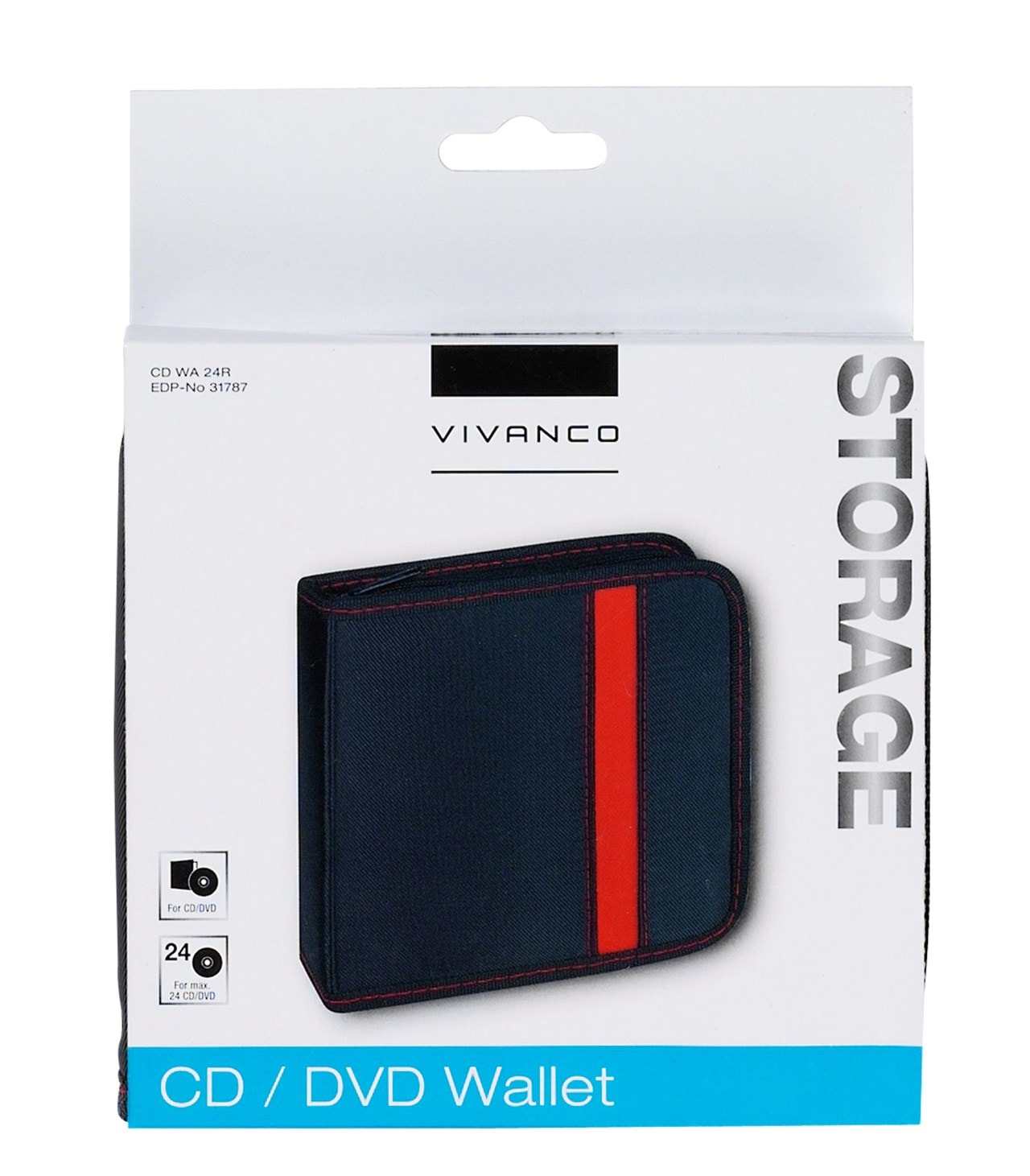 Vivanco 24 CD Wallet Black/Red - 2
