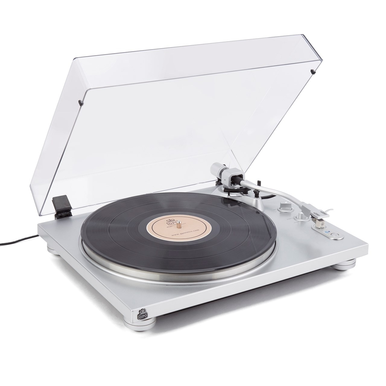 GPO PR100 Silver Turntable With PR200 CD Player and Speakers - 2