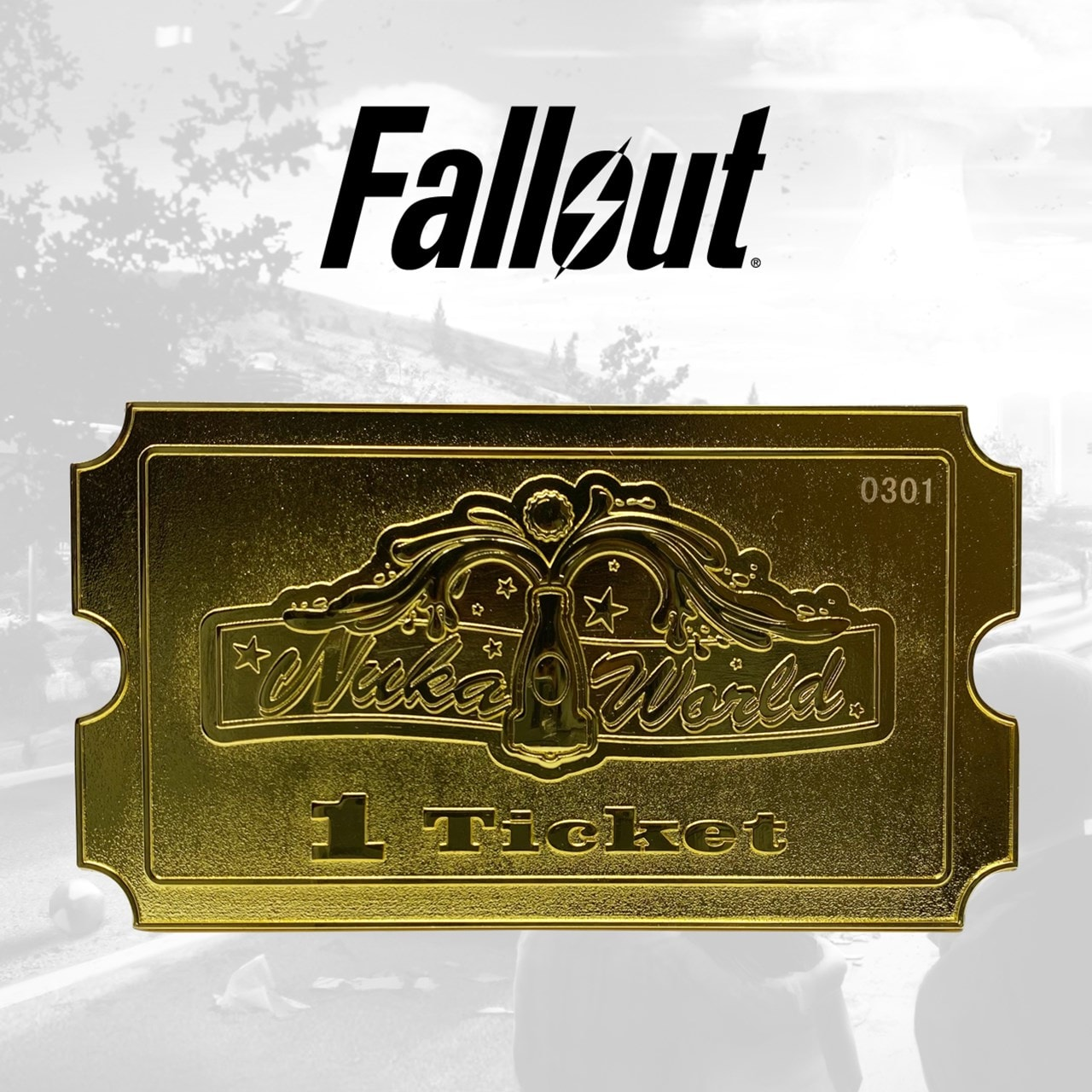 Fallout: Nuka World 24K Gold Plated Ticket Metal Replica (online only) - 1