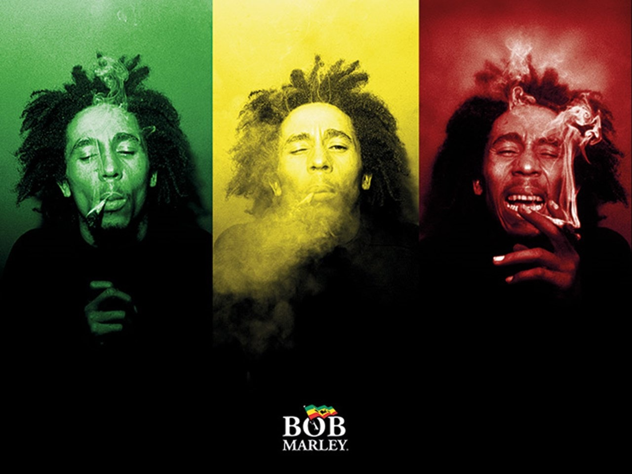 Bob Marley: Tricolour Smoke Canvas Print - 1