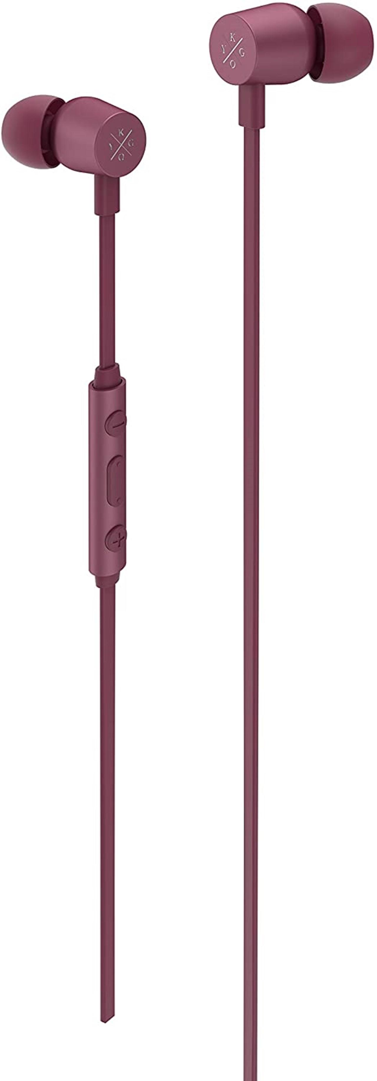 Kygo E2/400 Burgundy Earphones W/Mic - 1