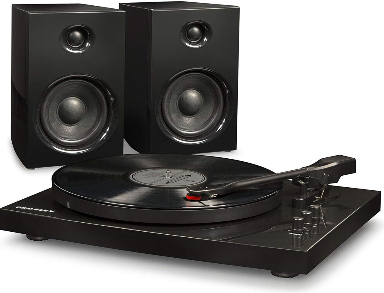 Crosley T100 Black Turntable & Speaker Bundle - 2