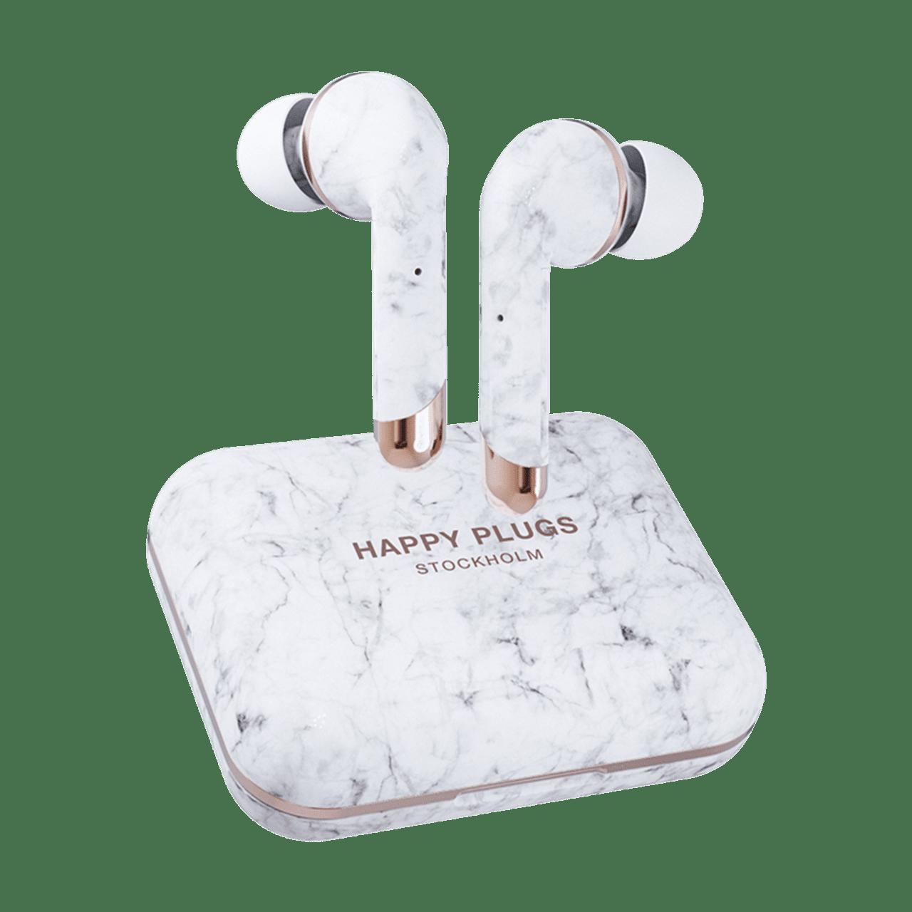 Happy Plugs Air1 Plus White Marble In Ear True Wireless Bluetooth Earphones - 1