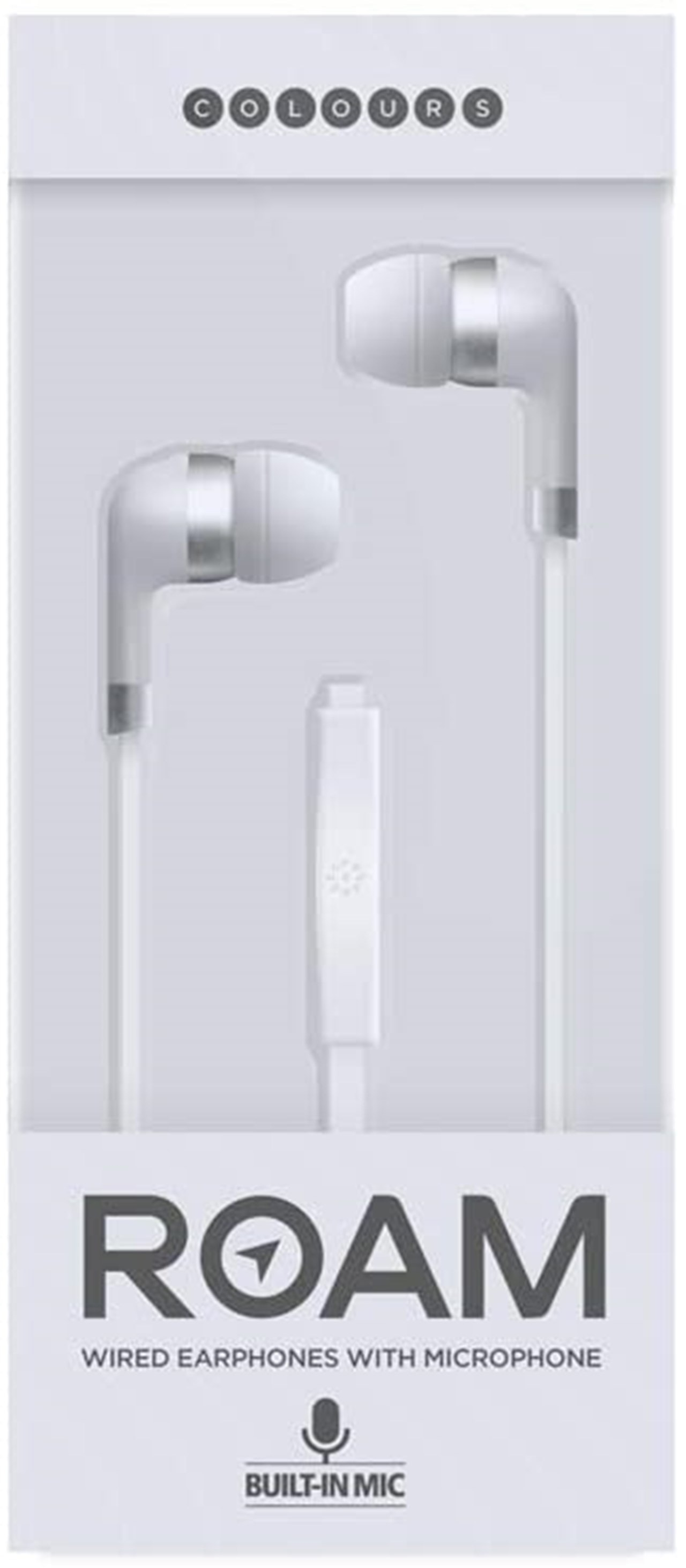 Roam Colours Plus White Earphones W/Mic - 1