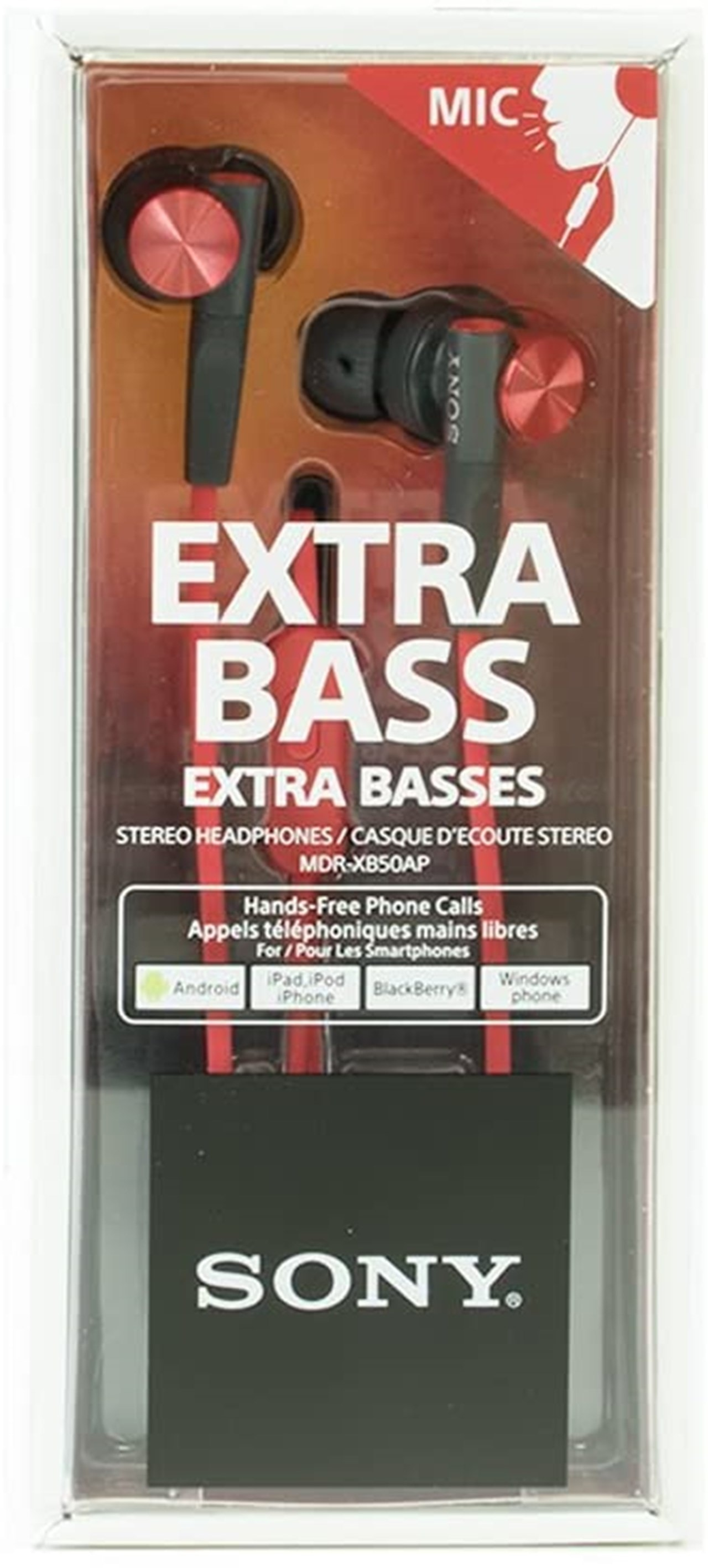Sony XB50AP Red Extra Bass Earphones - 2