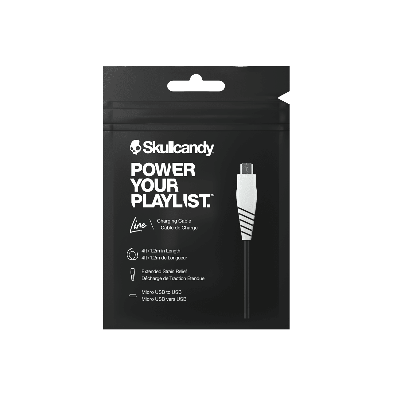 Skullcandy Round Micro Usb Black White Charge Sync Cable 1 2m Accessories Free Shipping Over 20 Hmv Store