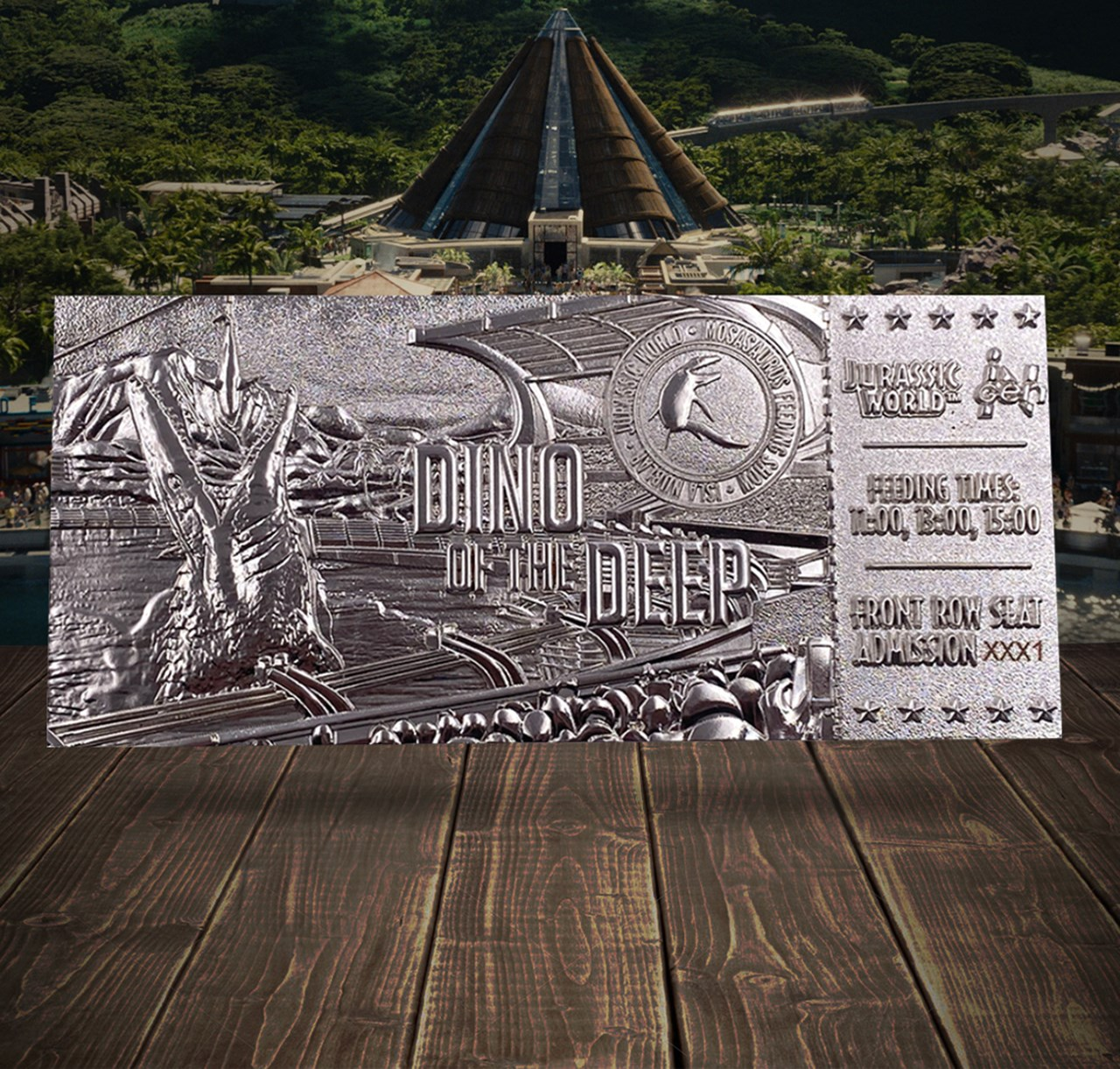 Jurassic World: Mosasaurus Silver Plated Metal Replica Ticket (online only) - 3