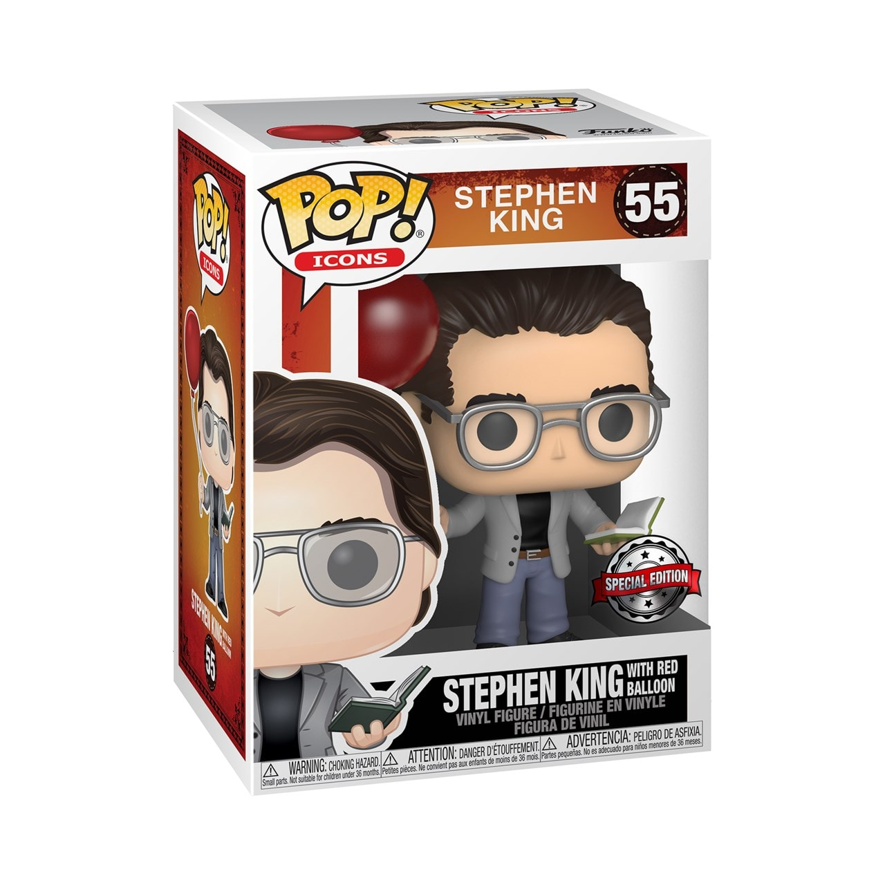 Stephen King with Red Balloon (55) Pop Icons (hmv Exclusive) Pop Vinyl - 2