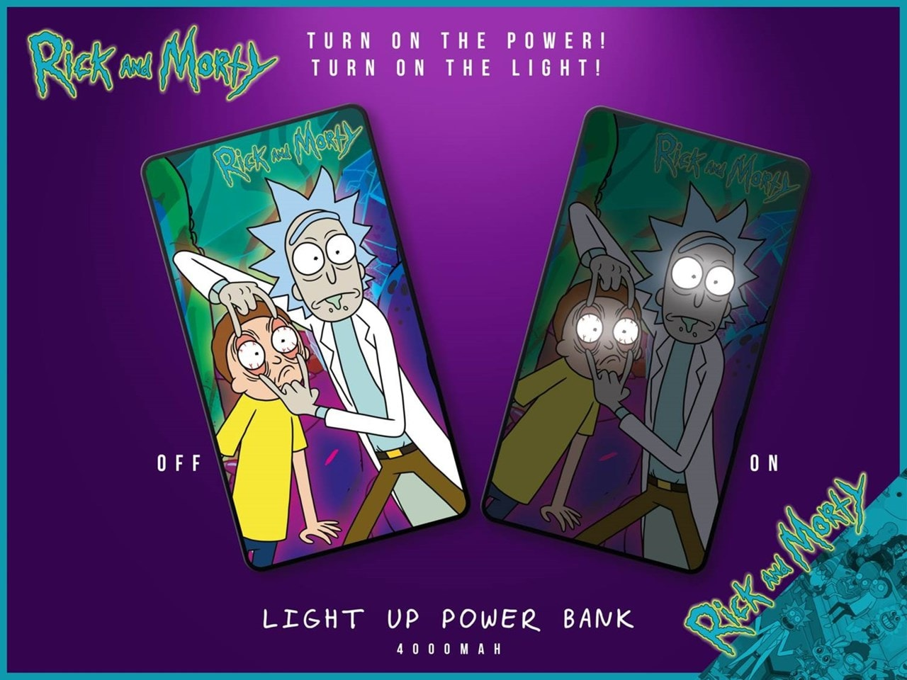 Lazerbuilt Rick & Morty Light Up 4000mAh Power Bank - 2