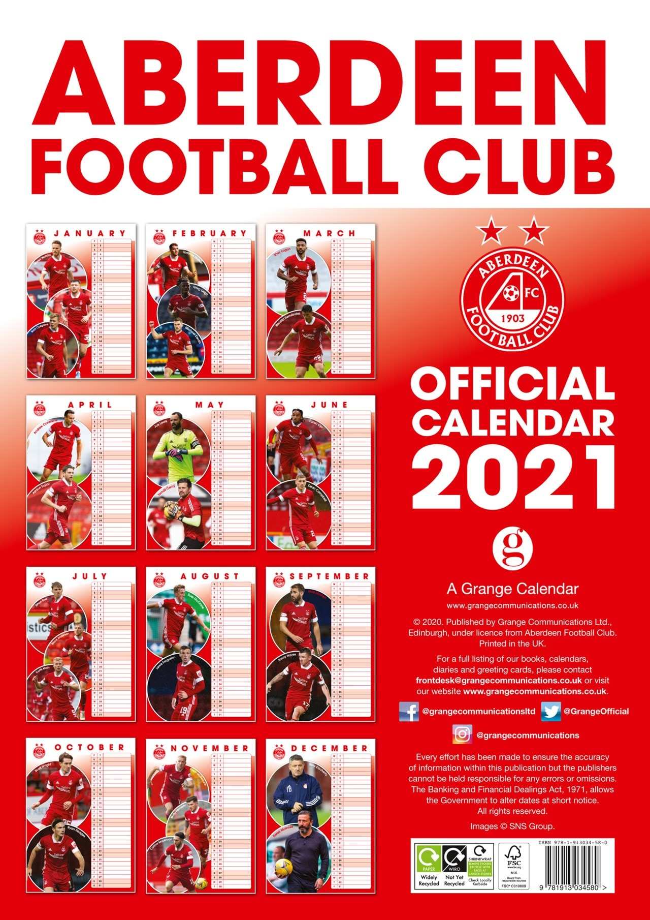 Aberdeen FC: Football A3 2021 Calendar - 3