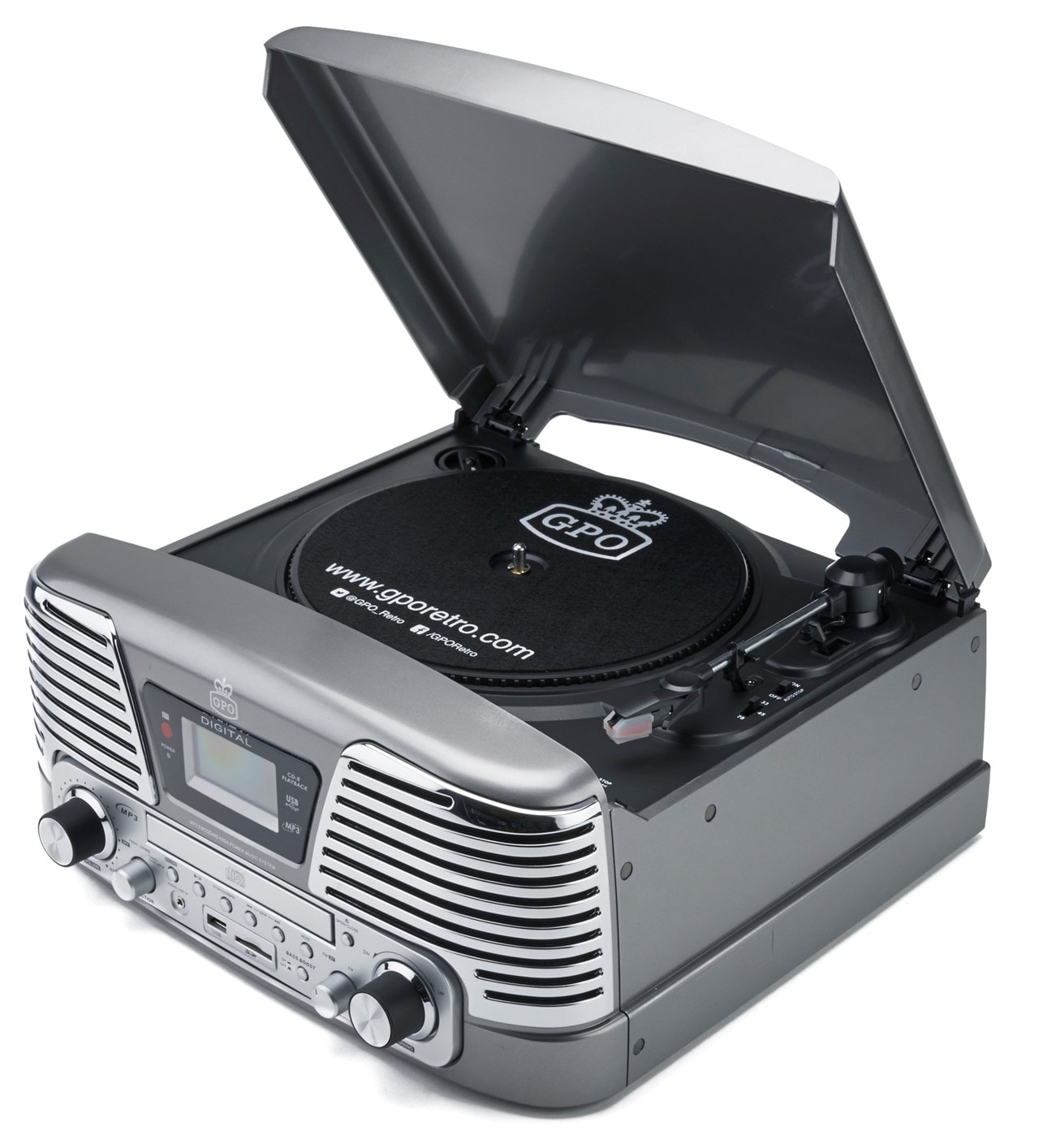 GPO Memphis Silver USB Turntable with CD Player & Radio (online only) - 1