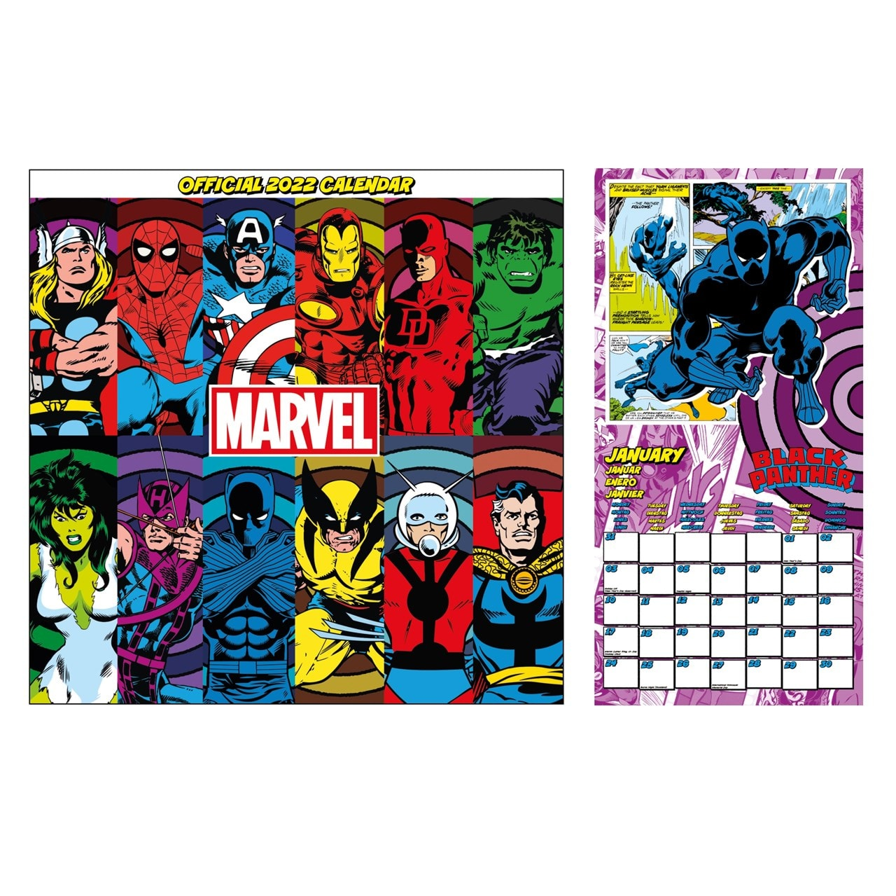 Marvel Retro Comic Book: Square 2022 Calendar - 1