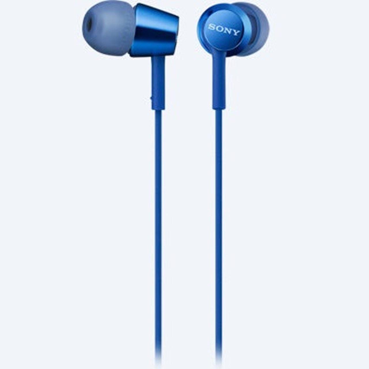 Sony Mdrex155Ap Blue Earphones W/Mic - 1
