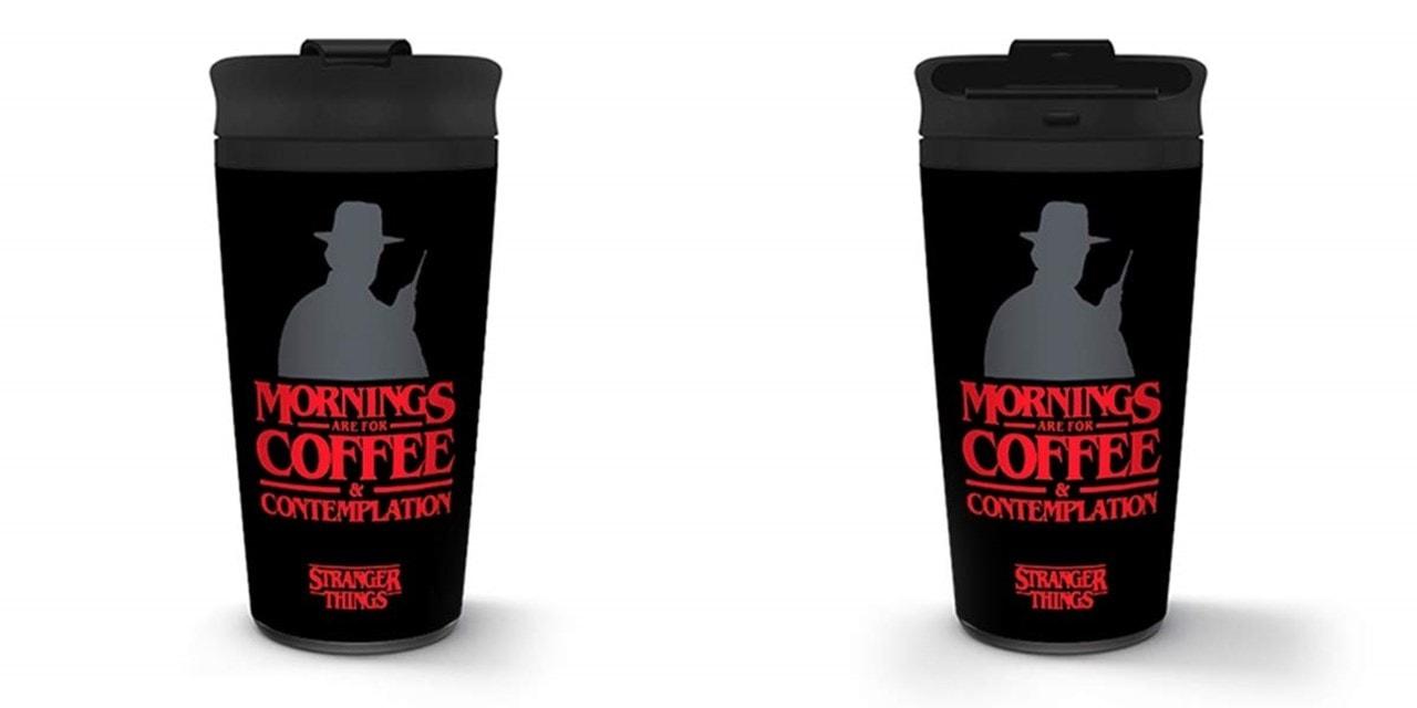 Metal Travel Mug: Stranger Things: Coffee & Contemplation - 1