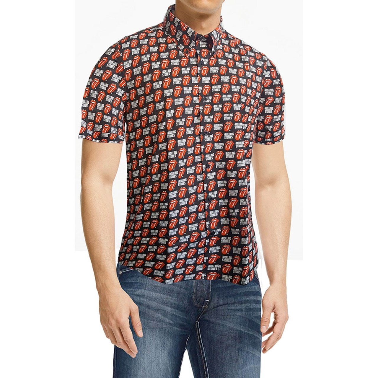 Rolling Stones: Tongue & Text Casual Shirt (Small) - 1