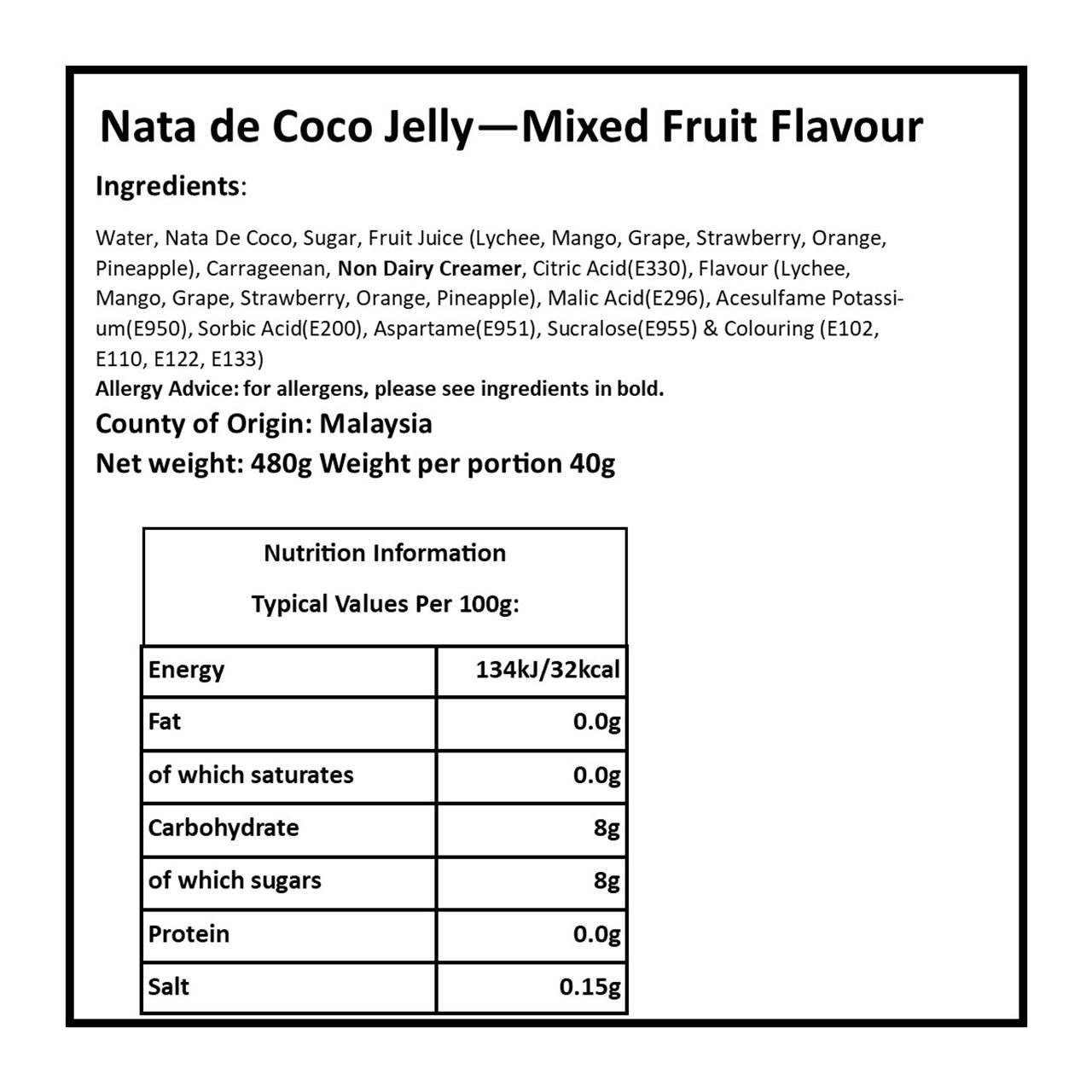 Nata De Coco Pudding: Assorted Fruit Flavour Jellies: Case Of 6 (12 Jellies Per Bag) - 2