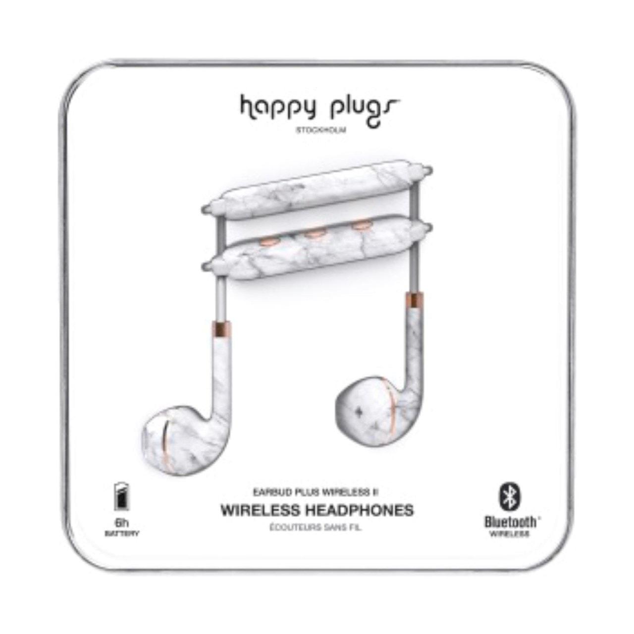 Happy Plugs Wireless II White Marble Bluetooth Earphones - 1