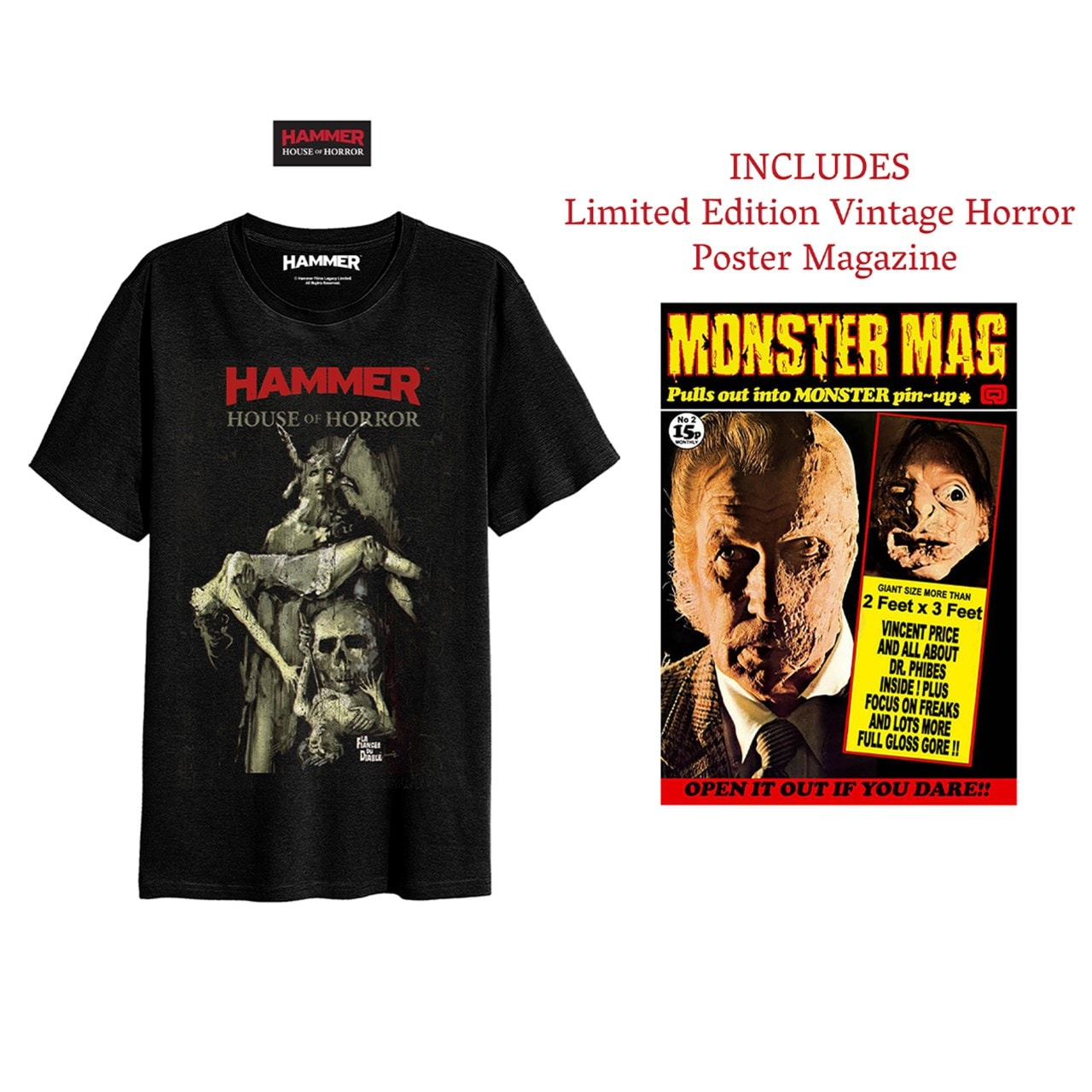 Hammer Horror: House Of Horror: T-Shirt and Poster Magazine Set (Small) - 1