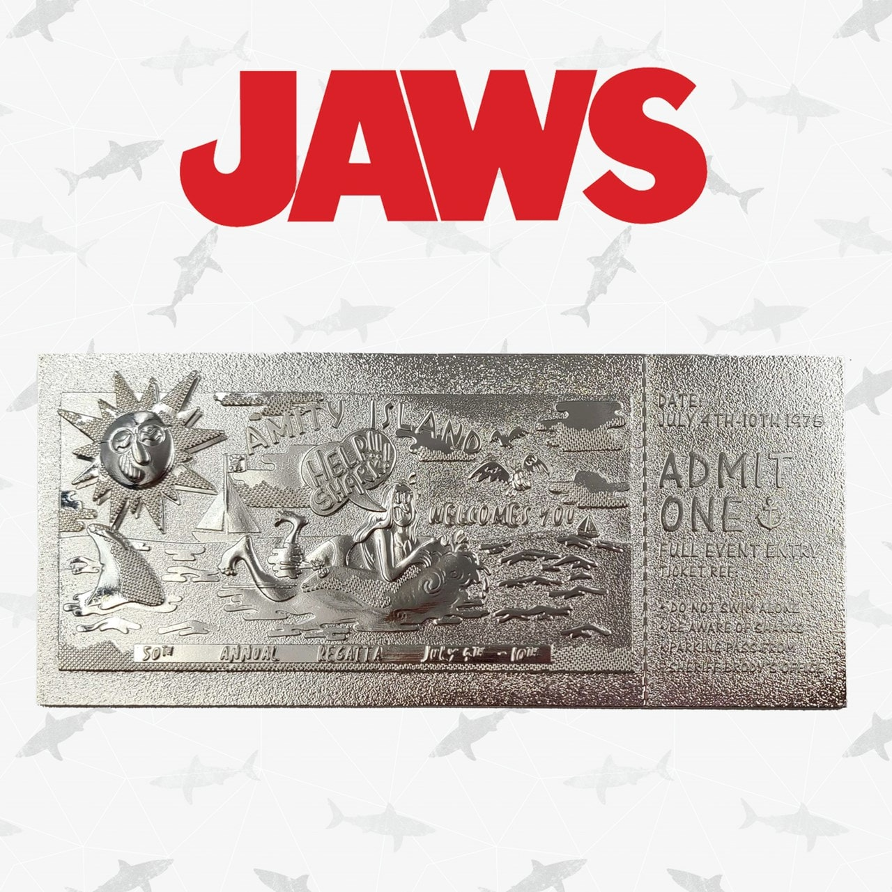 Jaws: Silver Plated Ticket Metal Replica (online only) - 1