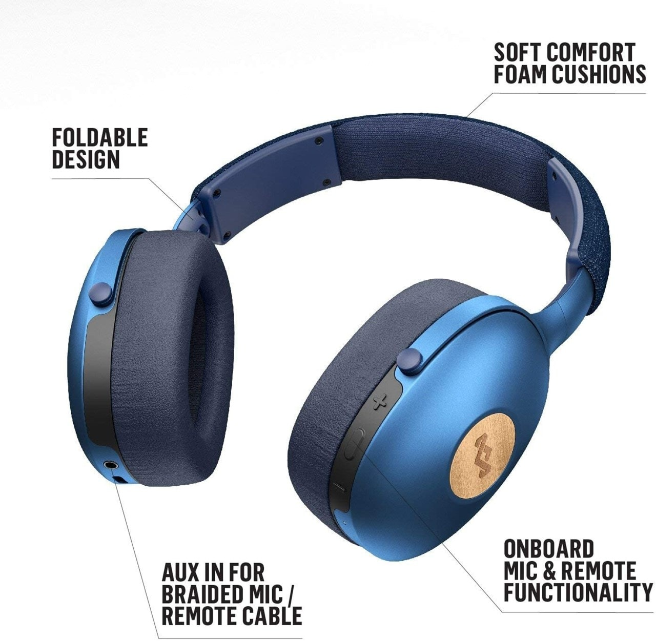 House Of Marley Positive Vibration XL Blue Bluetooth Headphones - 4