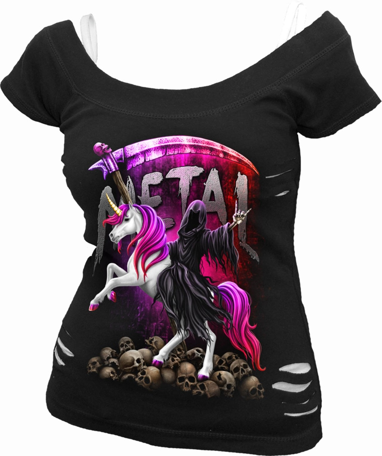 Spiral: Metallicorn: 2-In-1 Ripped Ladies Fit Tee (Extra Large) - 1