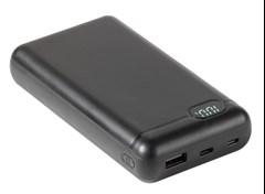 Vivanco Black 20000mAh Power Bank with Dual Micro USB & USB-C Cable - 1