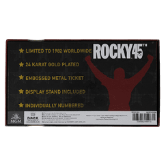 Rocky 45th Anniversary Fight Ticket: 24K Gold Plated Limited Edition Collectible - 6