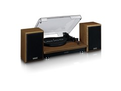 Lenco LS100 Wood Turntable & Speakers - 1