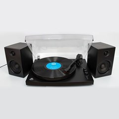 GPO Piccadilly Matte Black Turntable With Speakers (hmv Exclusive) - 1