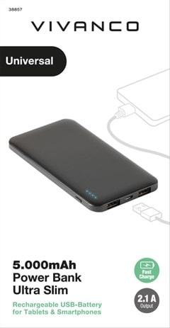 Vivanco Slim Black 5000mAh Power Bank with Micro USB Cable - 3