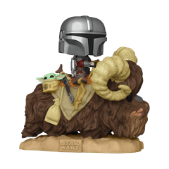 Mando on Bantha with Child (416) The Mandalorian: Star Wars Deluxe Pop Vinyl - 1