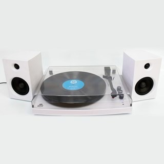 GPO Piccadilly Matte White Turntable With Speakers (hmv Exclusive)