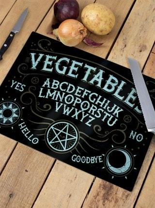 Vegetables Ouija Board: Glass Chopping Board