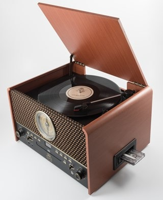 GPO Chesterton Wood 5-In-1 USB Turntable w/ Radio, CD & Cassette Player