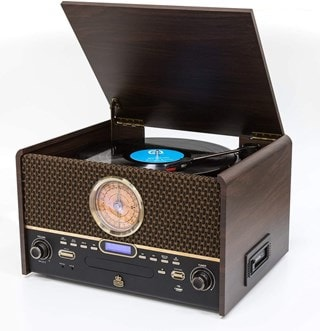GPO Chesterton DAB Wood 5-In-1 USB Turntable w/ DAB Radio, CD & Cassette Player