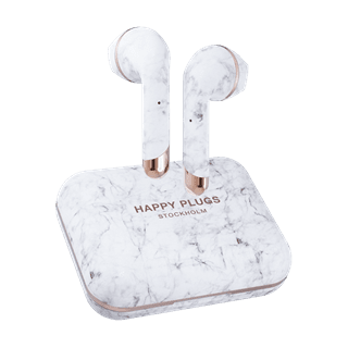 Happy Plugs Air1 Plus White Marble Earbud True Wireless Bluetooth Earphones