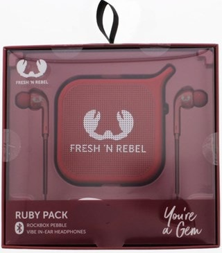 Fresh N Rebel Gift Pack Ruby: Vibe Earphones & Pebble Bluetooth Speaker