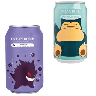 Pokemon Ocean Bomb: White Grape Soft Drink Pack of 4