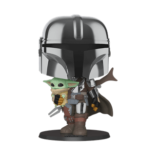 "The Mandalorian (Chrome Armour) with The Child 10"" (380) Star Wars Pop Vinyl"