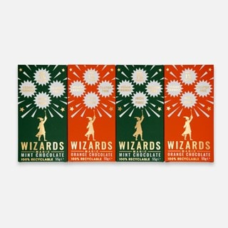 Wizards Magic Chocolate: 1% Sugar Original Gift Pack: Mint & Orange (Pack of 4)
