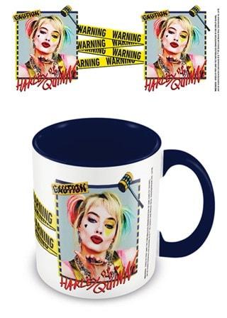 Coloured Inner Mug: Birds Of Prey (Harley Quinn Warning) Black