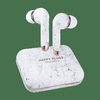 Happy Plugs Air1 Plus White Marble In Ear True Wireless Bluetooth Earphones