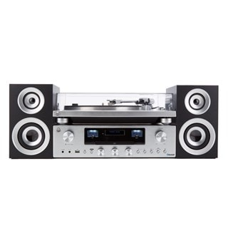 GPO PR100 Silver Turntable With PR200 CD Player and Speakers