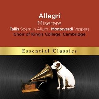 Allegri: Miserere/Tallis: Spem in Alium/Monteverdi: Vespers