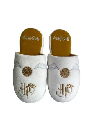 Harry Potter: Golden Snitch Large (UK 5-7) White Mule Slippers